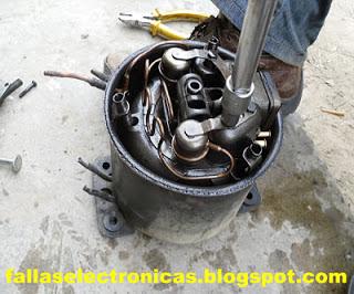 como quitar bobina interna de compresor