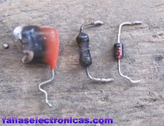 componentes electronicos quemados en tv samsung